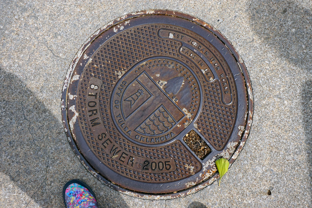© 2018 Louise Levergneux. Manhole cover in Tulsa, Oklahoma.