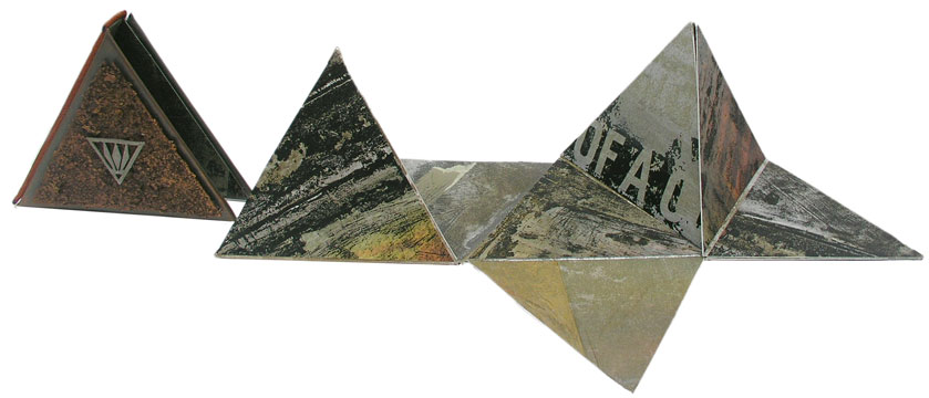 © 2010 Dorothy Simpson Krause.  Ancient Mysteries , a pyramid shaped structure was created after Dorothy had an opportunity to work with  Karen Hanmer .  Ancient Mysteries  can be folded in a virtually infinite number of ways, and is housed in a leather slipcase embellished with two triangular pieces of metal.6''x6''x1.5'' 36 pages