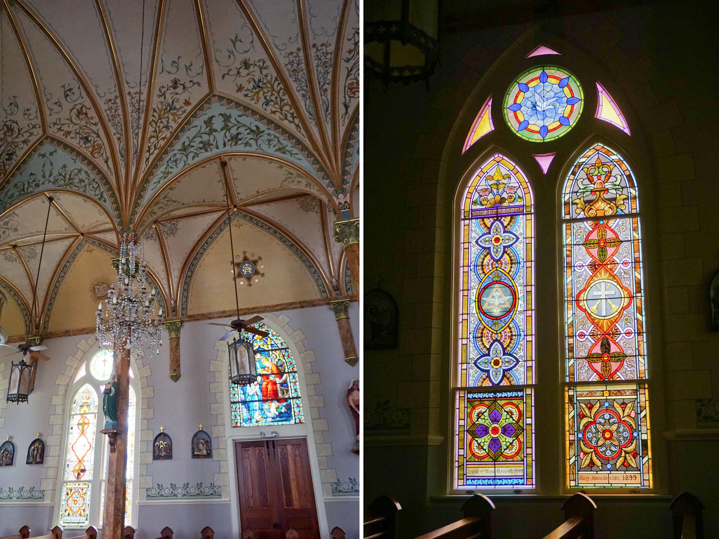 © 2019 Louise Levergneux. St. Mary's Catholic Church's stained glass windows. /  Les vitraux de l'Église catholique Sainte Marie.