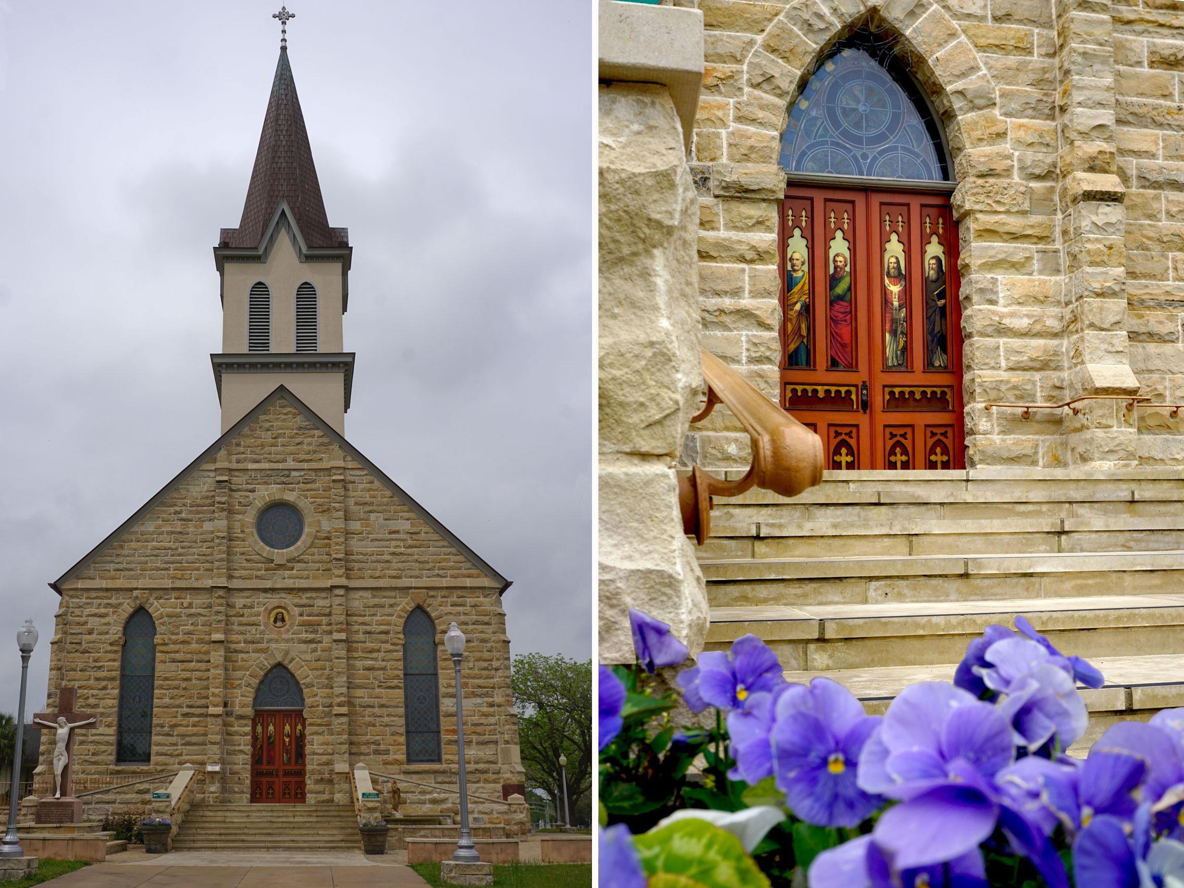 © 2019 Louise Levergneux. St. Mary's Church received a current exterior from stones quarried nearby in Muldoon in Texas. /  L'Église Sainte Marie reçoit un extérieur de pierres extraites dans les environs de Muldoon au Texas.