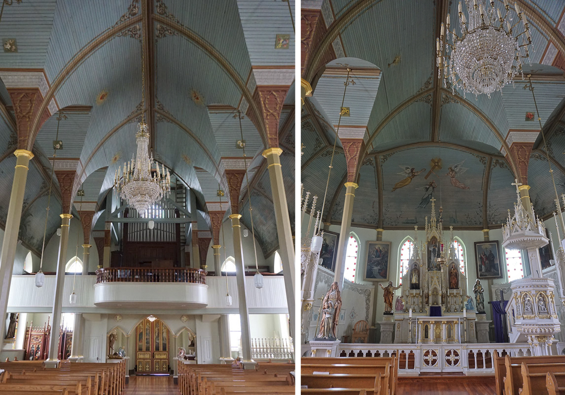 © 2019 Louise Levergneux. The ceiling of St. Mary's Church has never had to be retouched for well over 100 years. /  Le plafond de l'Église Sainte Marie n'a jamais été retouché depuis plus de 100 ans.
