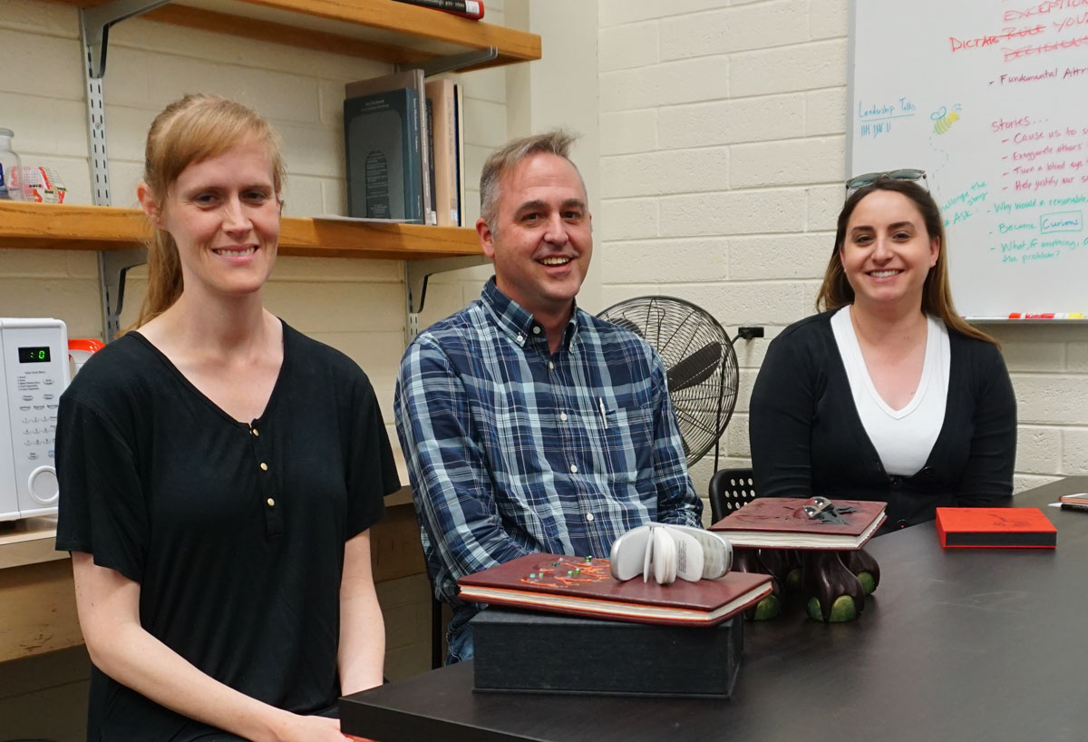 © 2019 Louise Levergneux. Meeting with (left) Christina Thomas Maloy, Conservator, of Rare Books and Manuscripts, (middle) Chris McAfee, Head Conservator of Rare Books and Manuscripts, (right) Victoria Birth, Binding Supervisor at the Material Acquisitions Department.