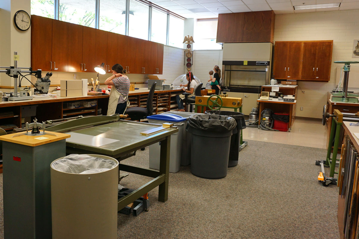 © 2019 Louise Levergneux. Staff hard at work at the conservation lab at the Harold B. Lee Library.