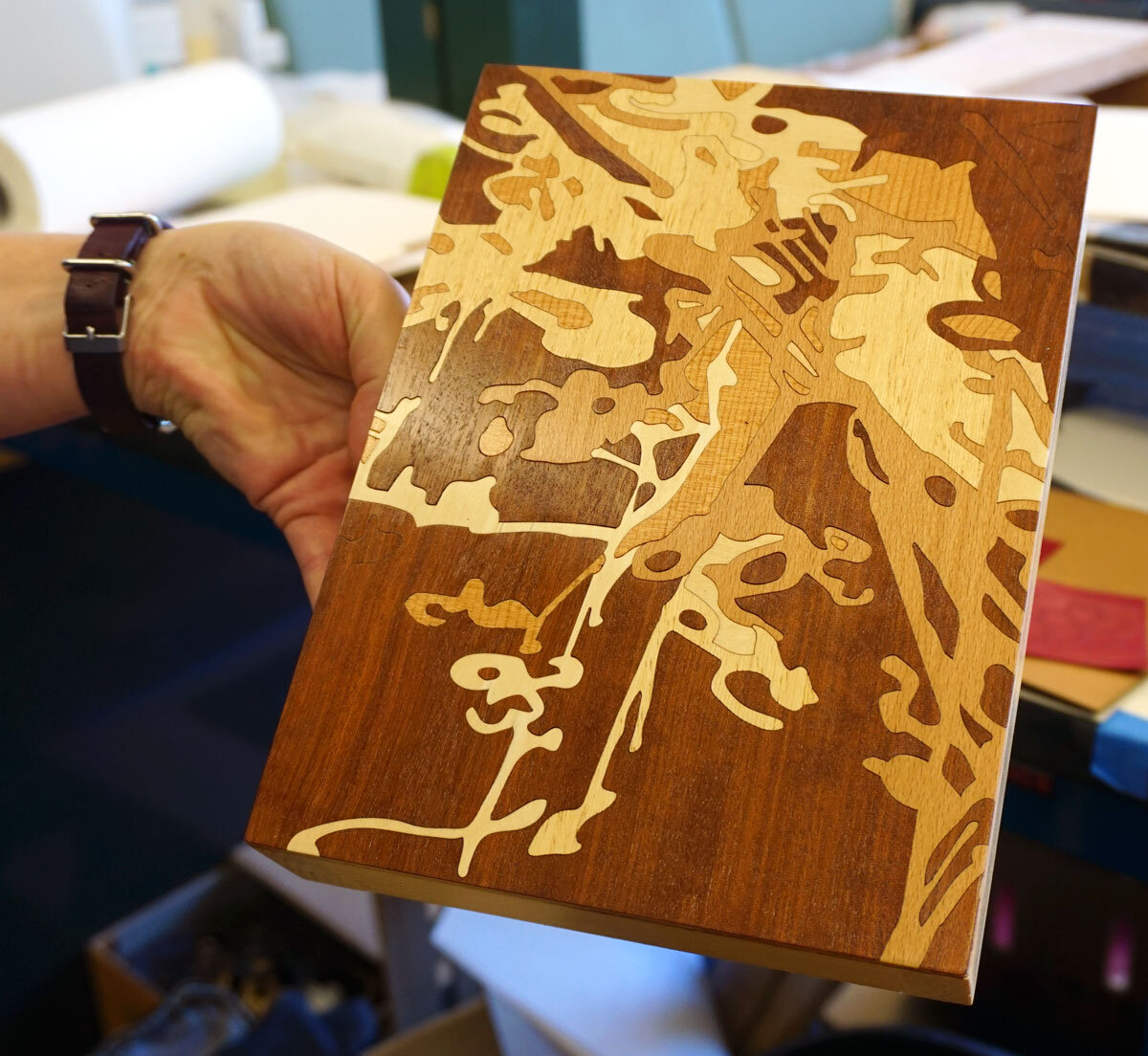 © 2019 Louise Levergneux. Sarah's art work using laser cut marquetry in wood veneer.