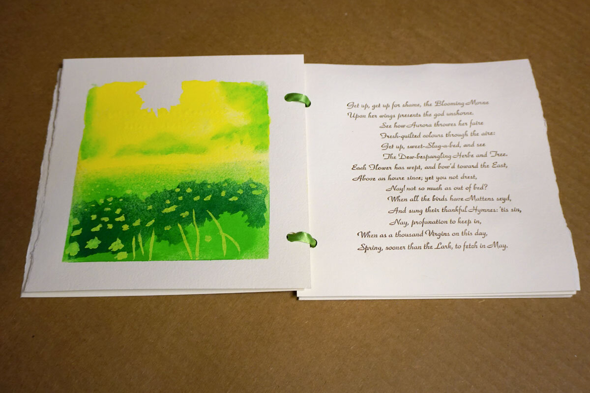 © 2019 Louise Levergneux.  Corinna's Going a Maying , edition of 10, poem by British lyric poet Robert Herrick, published in 1648; eighteen pages on Twinrocker hand-made paper; pochoir images; text is hand-set in Park Avenue ATF, letterpress printed; bound with ribbon; silkscreened hand-made paper; concept, design, typesetting, and printing by Mary Agnes Williams; design, illustrations, printing and binding by Thomas Parker Williams.