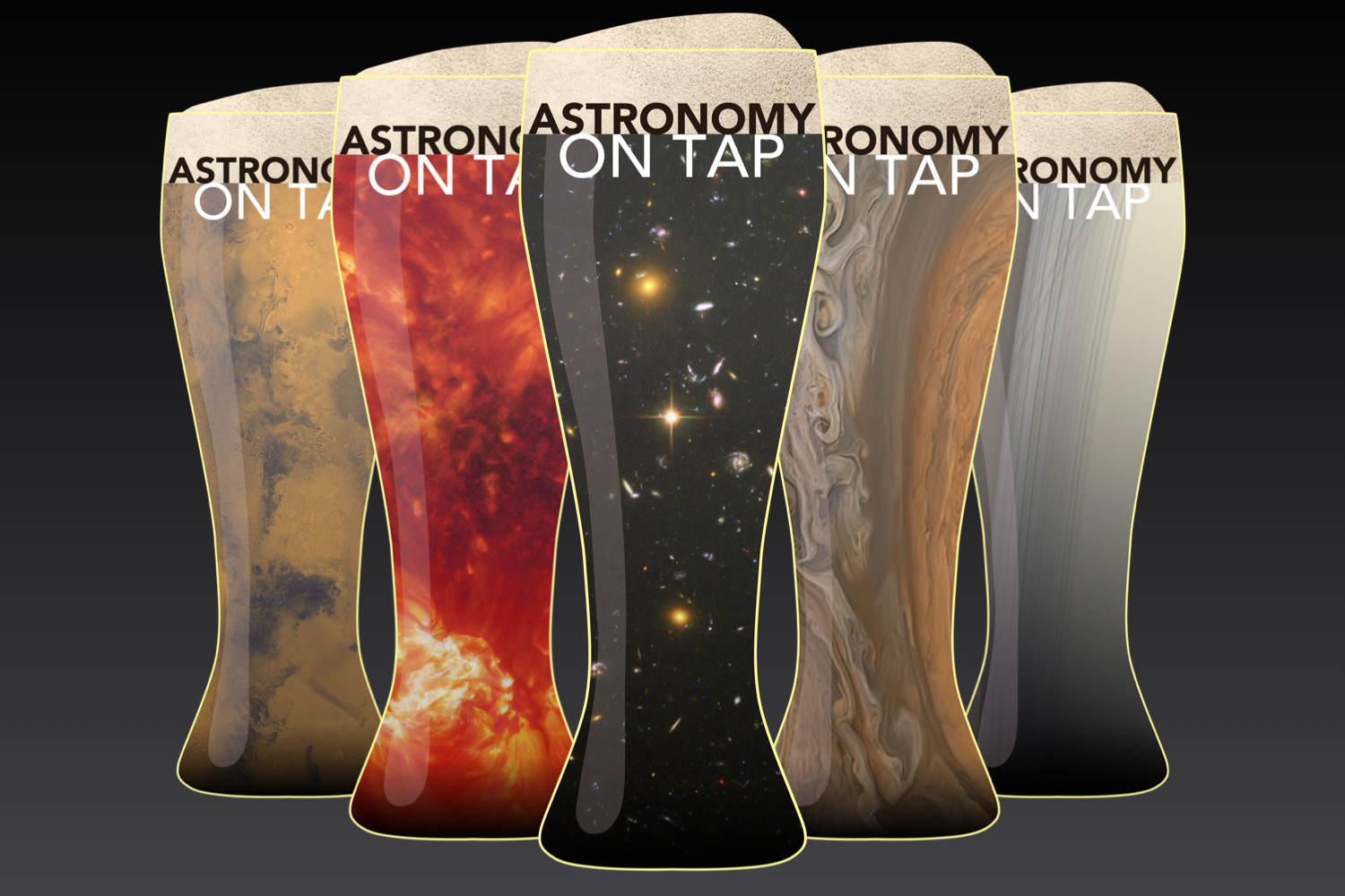 """Logo designs for """"Astronomy on Tap"""" events."""