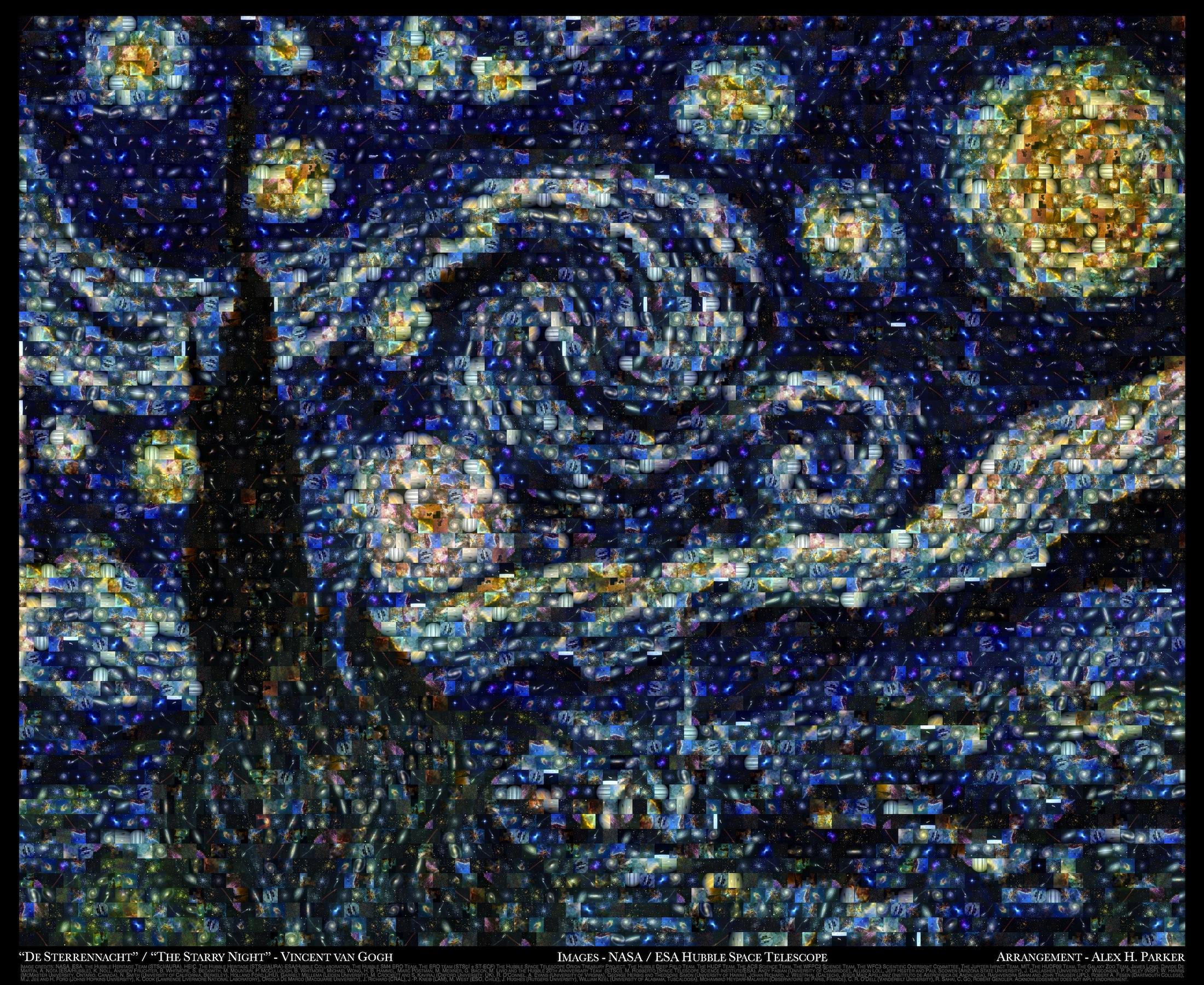"Hubble Space Telescope / Van Gogh's ""Starry Night"" mosaic."