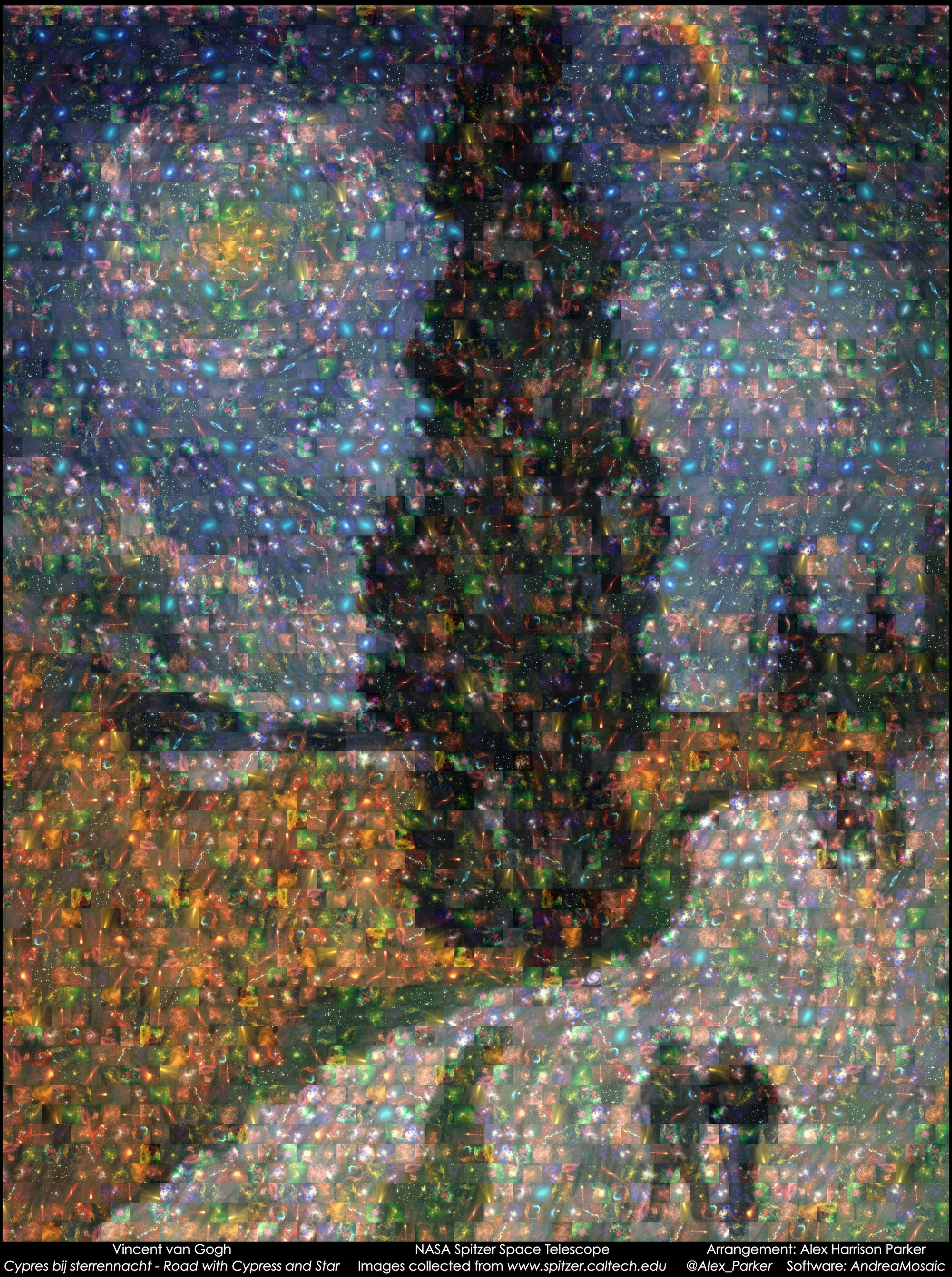"""Spitzer Space Telescope / Van Gogh's """"Road with Cypress and Star"""" mosaic."""