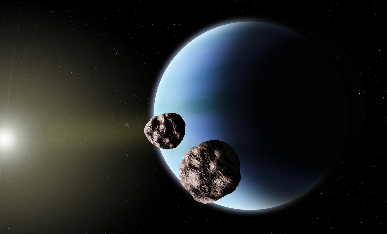 Binary Kuiper Belt Object during Neptune flyby.