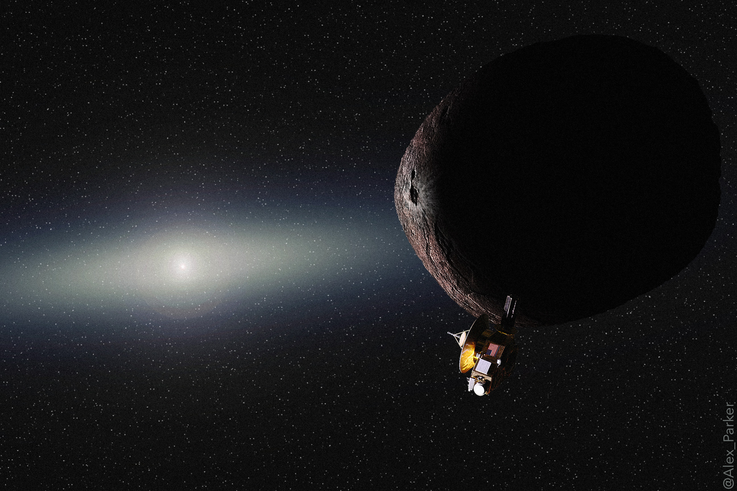 Conceptual illustration of a flyby of  Kuiper Belt Object PT1  by NASA's New Horizons in late 2018.