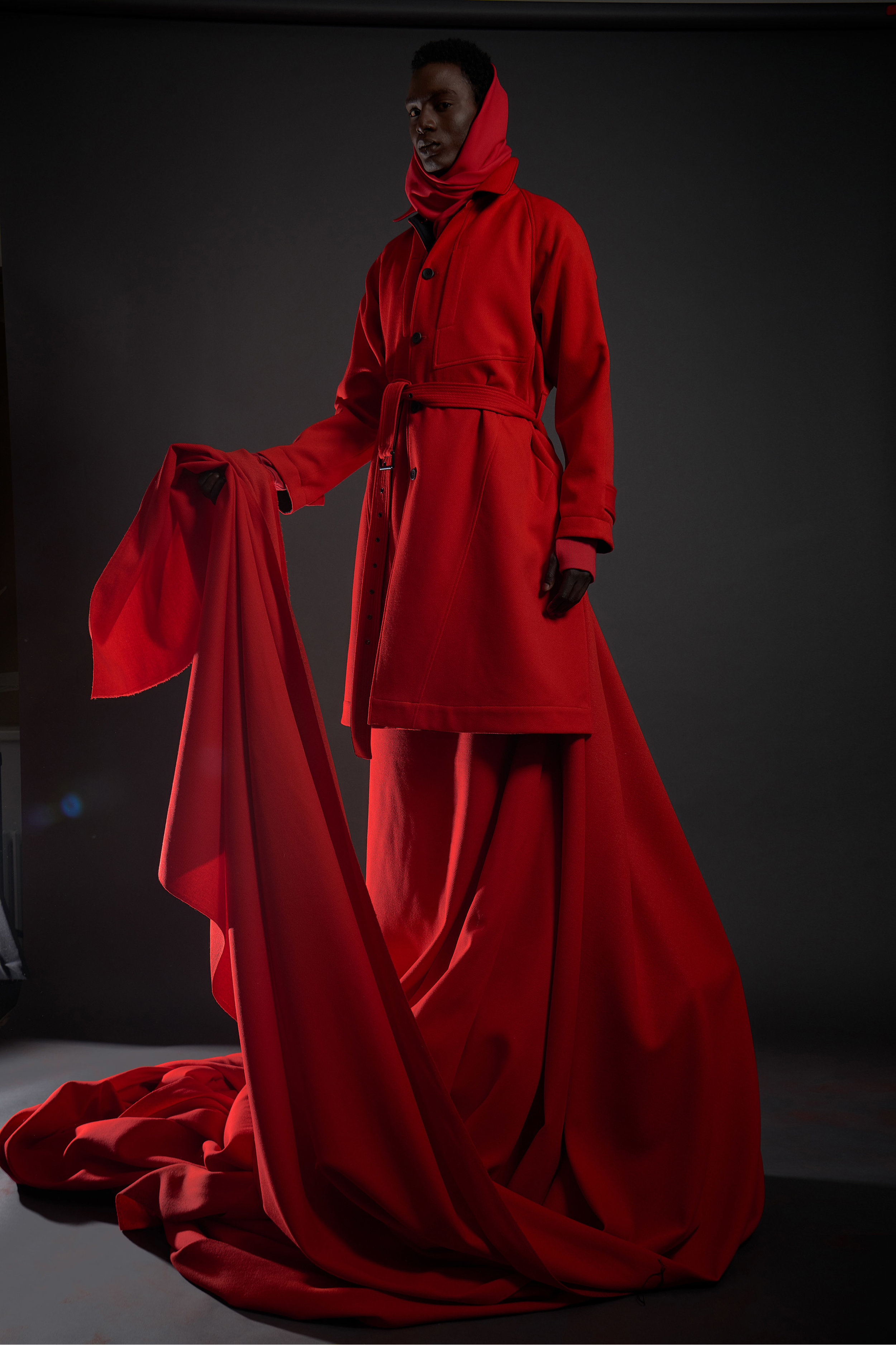 LOOK 1   ARC Overcoat  / Red Whipcord