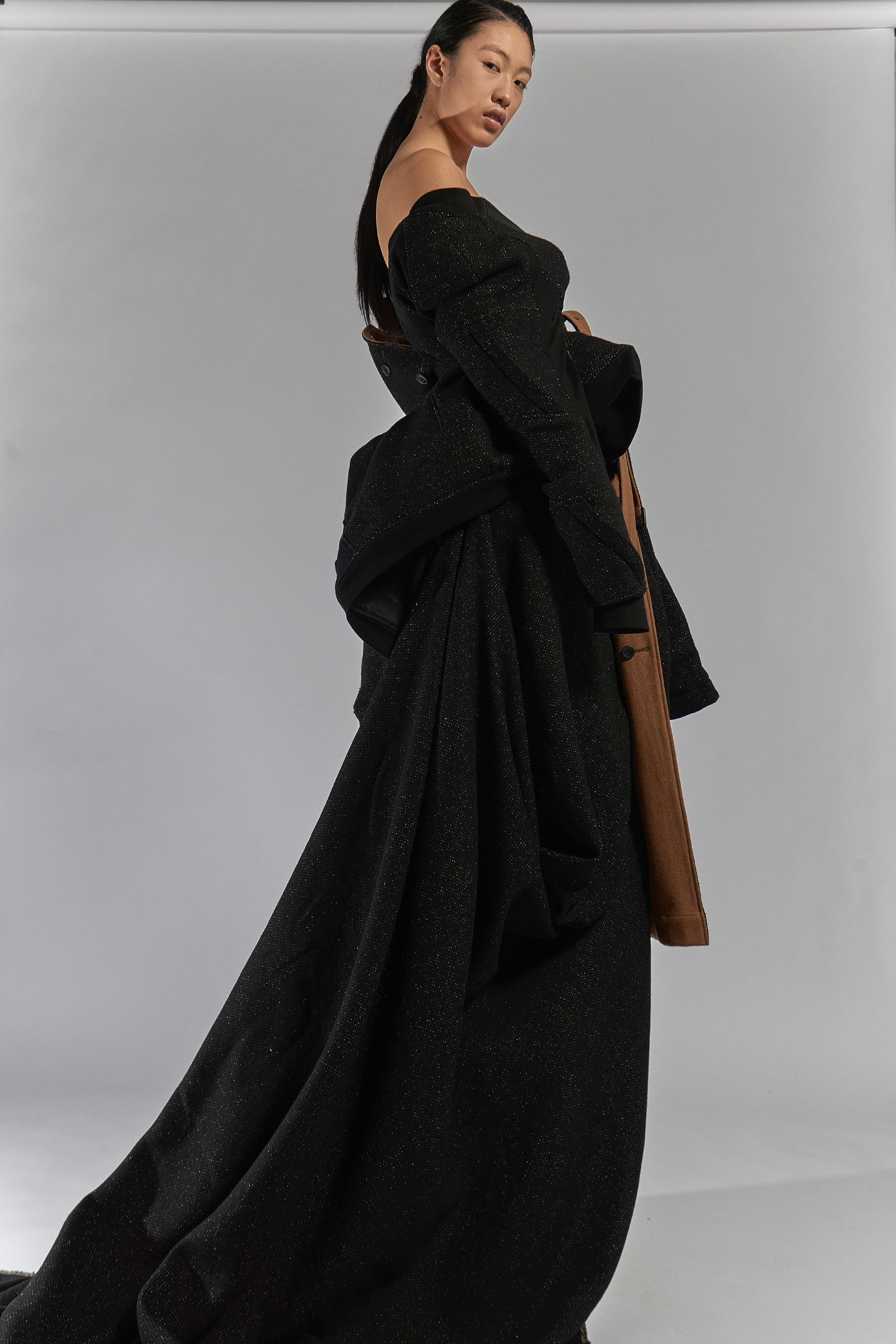 Look 16   ARC Flight Jacket  / Black   ARC Overcoat  / Black