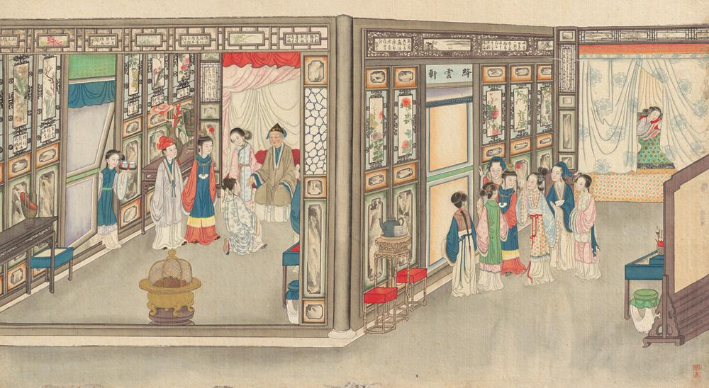 A 19th-century painting from a series of brush paintings by Qing Dynasty artist Sun Wen, depicting scenes from the novel  Dream of the Red Chamber . via Wikimedia Commons. Image, to the best of my knowledge, is in Public Domain.