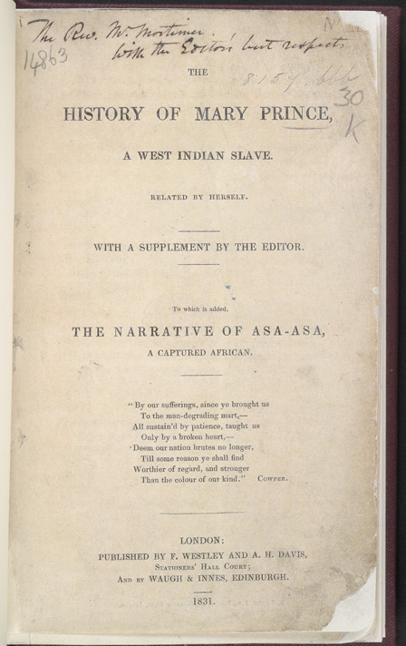"""Title Page"" The History of Mary Prince. 1831.Image. British Library. Web. 27 September 2013."