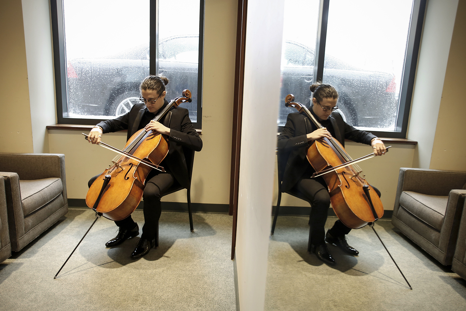 Santiago Cañón-Valencia, 18, from Dallas, TX practices before his performance in the senior division of the Sphinx Competition on Thursday, Feb. 20, 2014 at Orchestra Hall in Detroit. Tim Galloway or Al Jazeera America.