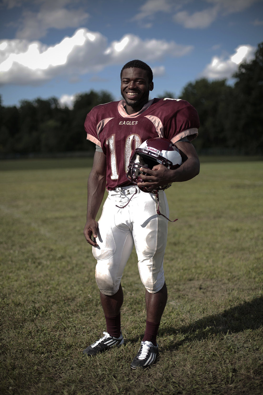 Oscar Brown (10/RB), a senior, pauses for a portrait after practice on Wednesday, August 13, 2014 at Romulus Middle School in Romulus. Tim Galloway/Special to the Detroit News