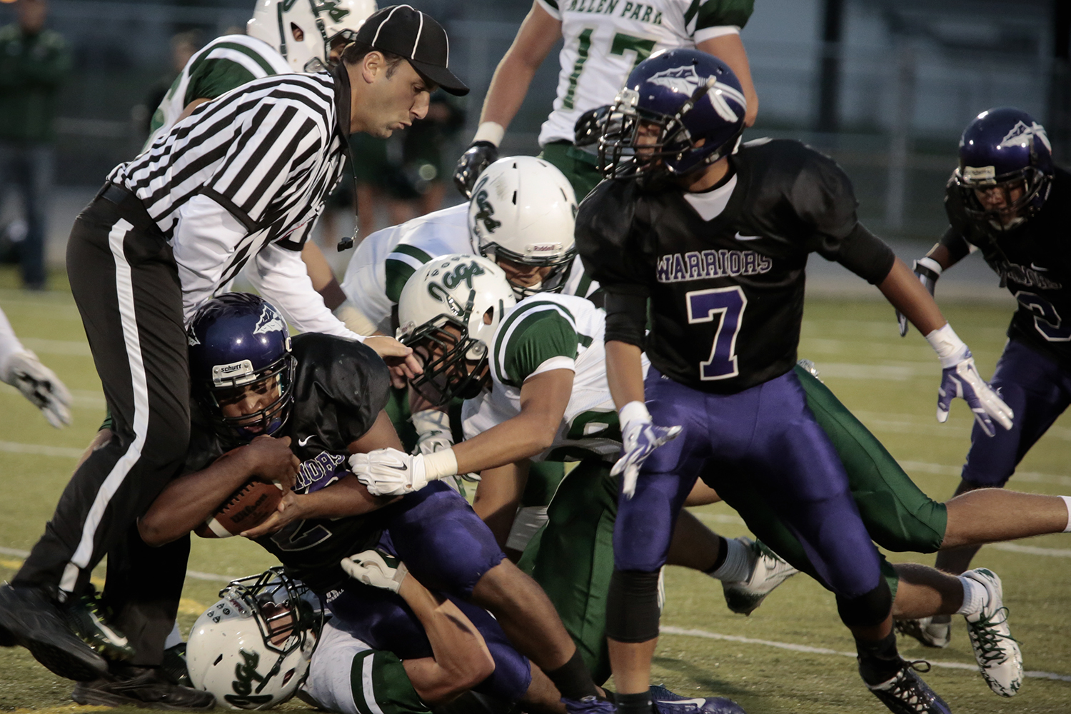 Woodhaven's Niko France (23/QB) is tackled into a game official during the Woodhaven vs. Allen Park football game on Friday, Sept. 12, 2014 at Woodhaven High School in Brownstown. Tim Galloway/Special for the DFP