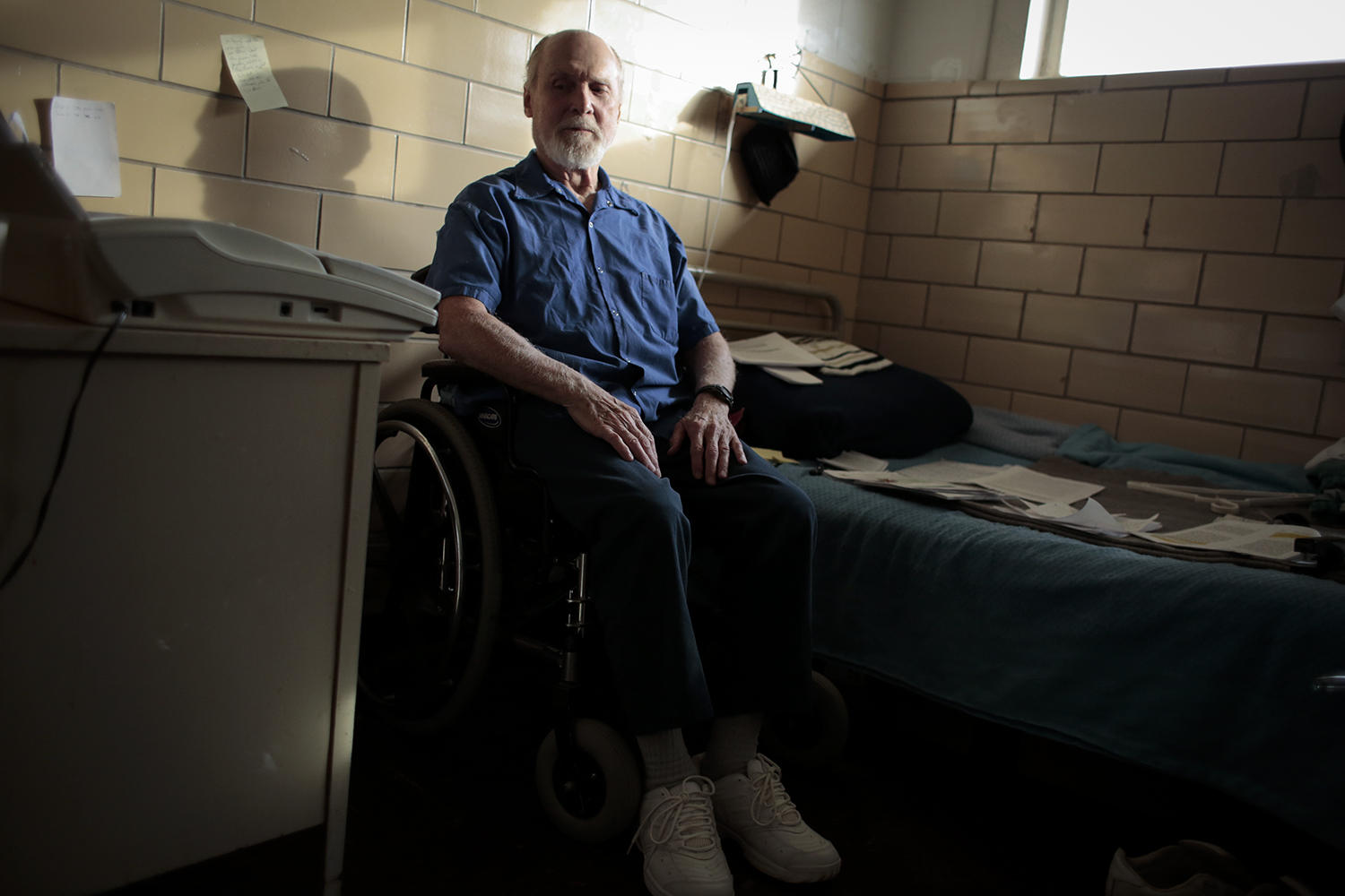 George Hall, 79, sits in his room on Monday, Dec. 1, 2014 at the Lakeland Men's Correctional Facility in Coldwater, MI. Tim Galloway for Al Jazeera America