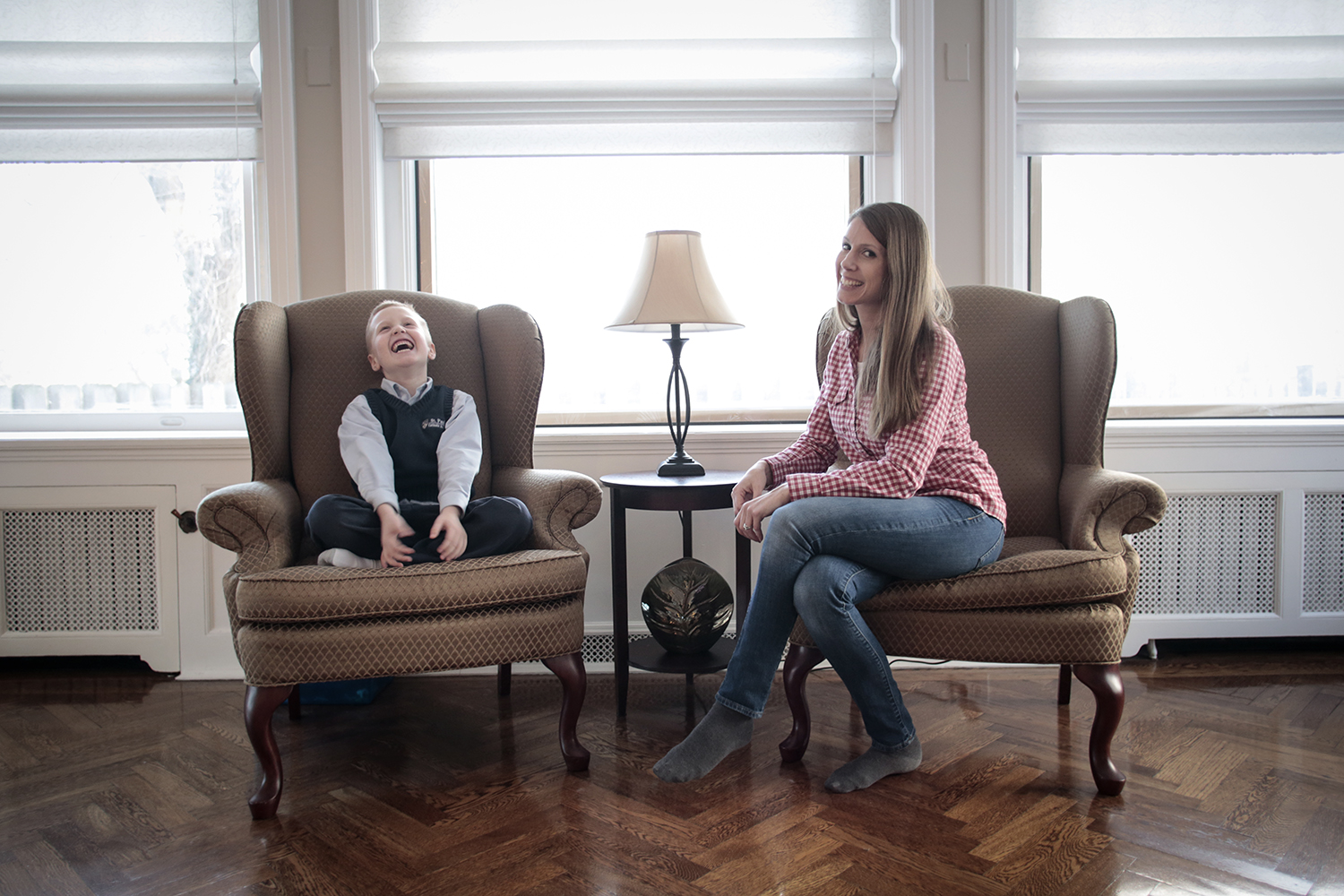 Riley Winkler, 6, left, and Jodi McKay sit in their home in Indian Village on Wednesday, Jan. 7, 2015 in Detroit. Tim Galloway/Special for DFP