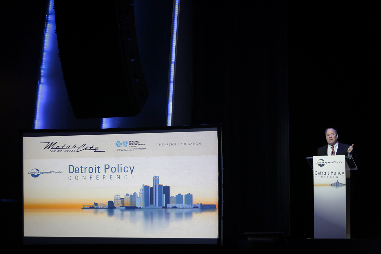 Mayor Mike Duggan speaks during the Detroit Policy Conference on Thursday, Feb. 26, 2015 at the Motor City Hotel and Casino in Detroit. Tim Galloway/Special to DFP