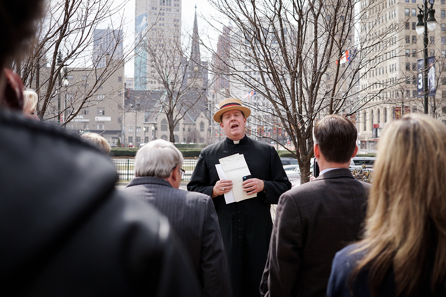 "Rev. Steven J. Kelly from Grosse Pointe Park sings ""Take Me Out to the Ball Game"" at the 15th Annual Pray Here for the Tigers Service on Sunday, Apr. 5, 2015 at St. John's Episcopal Church in Detroit. Tim Galloway/Special for DFP"