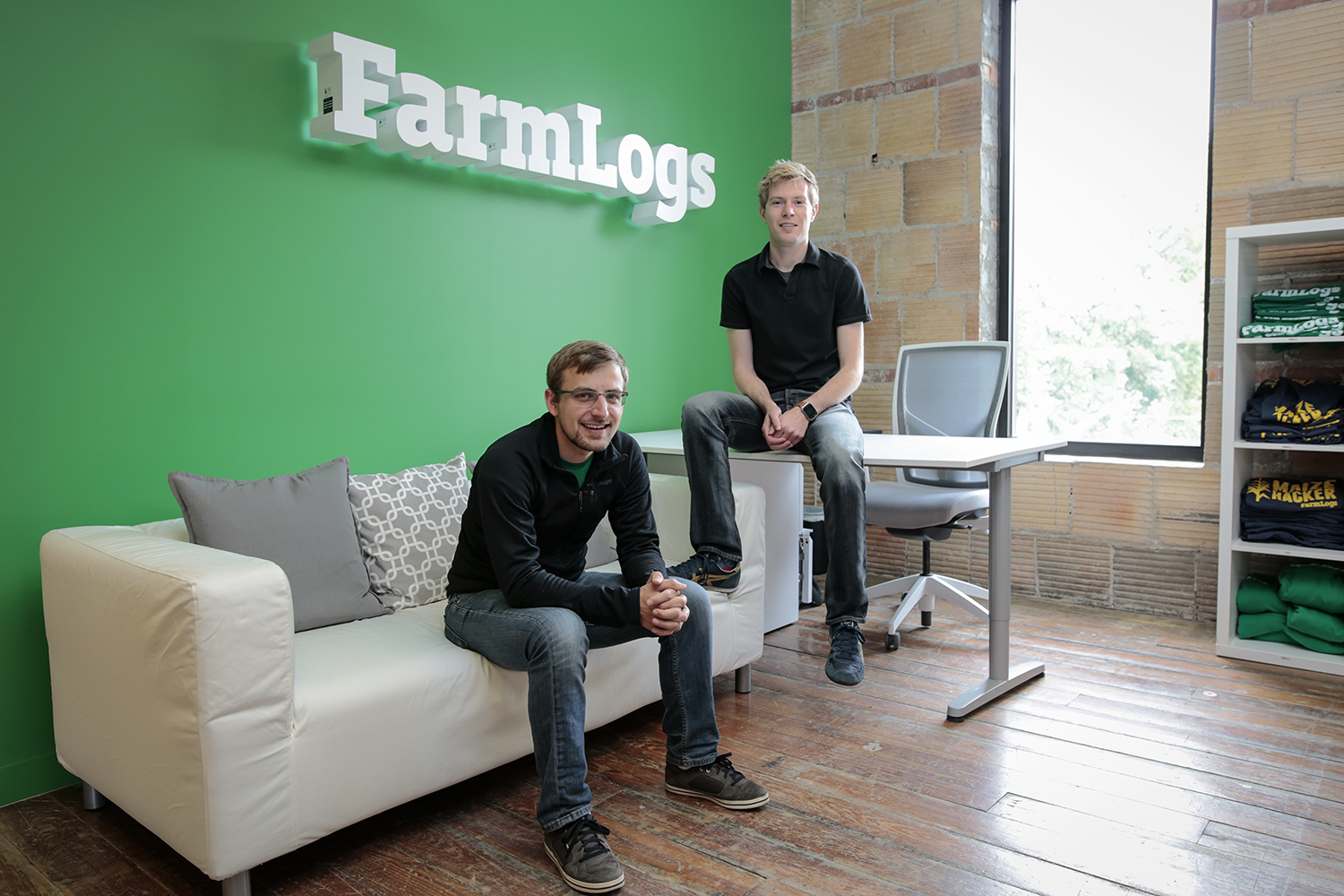 Brad Koch, left, and Jesse Vollmar, co-founders of FarmLogs have their photo taken on Monday, June 22, 2015 at FarmLogs in Ann Arbor, MI. Tim Galloway for the New York Times