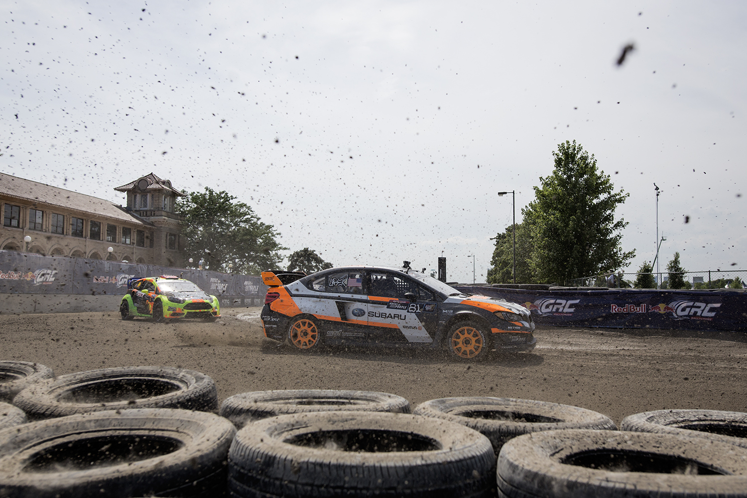Austin Dyne in the #14 car chases after Bucky Lasek, #81,  during the RedBull Global Rallycross on Sunday, Juy 26, 2015 on Belle Isle in Detroit. Tim Galloway/Special for DFP