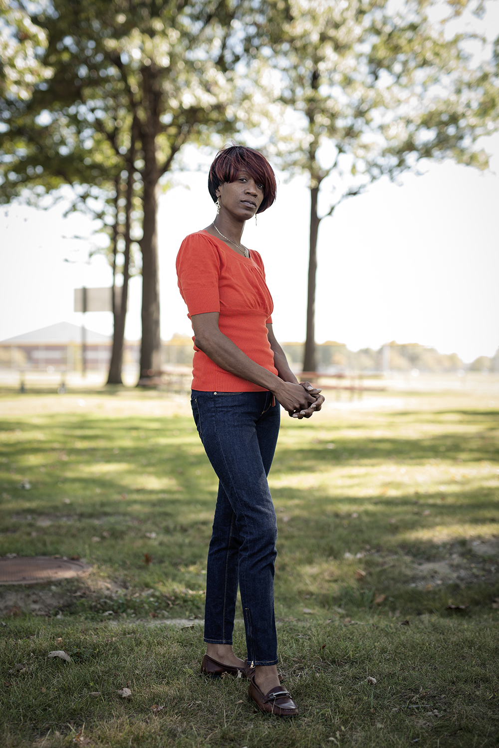 Dearborn, MI - Sept. 23, 2015: Clara Hill has her portrait made at a local park on Wednesday, Sept. 23, 2015 in Dearborn, MI. Hill had been arrested in 1987 by Detroit Police and was harassed, terrorized and assaulted while being questioned about a murder on the west side of Detroit. Tim Galloway for The Intercept