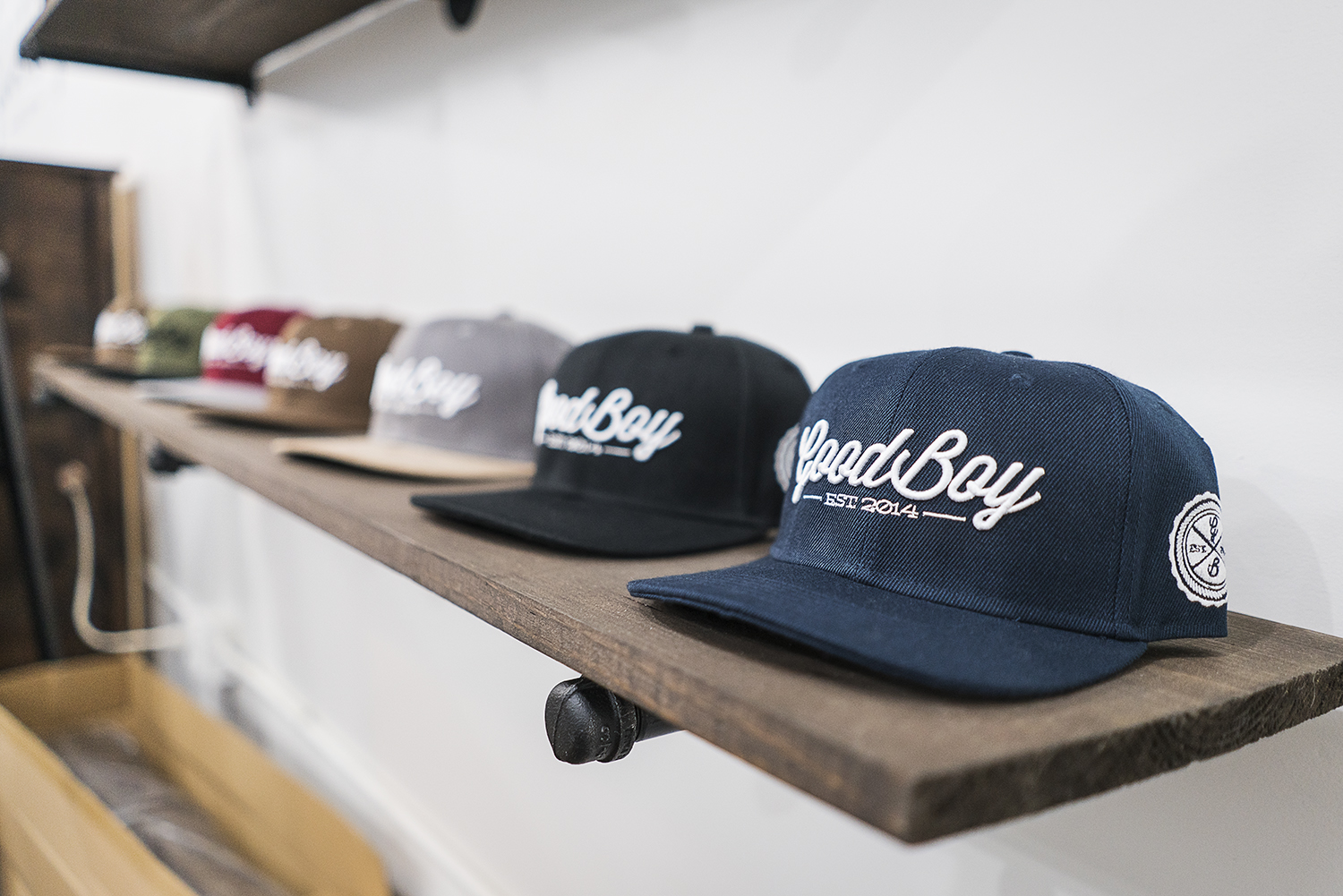 Flint, MI - Monday, November 13, 2017: Shelves are lined with brand new merchandise in the new GoodBoy Clothing showroom in downtown Flint. The crew at GoodBoy has been preparing tirelessly for the upcoming grand opening event on Friday, November 17, 2017.