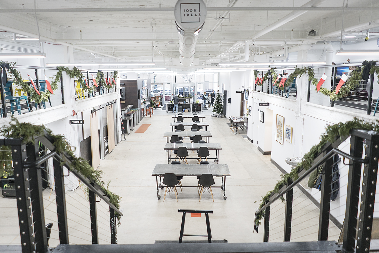 Flint, MI - Friday, December 22, 2017: 100k Ideas, located on the first and second floor of the Ferris wheel downtown, offers inventors and innovators the support and ability to make their dreams come to fruition. Tim Galloway for FlintSide