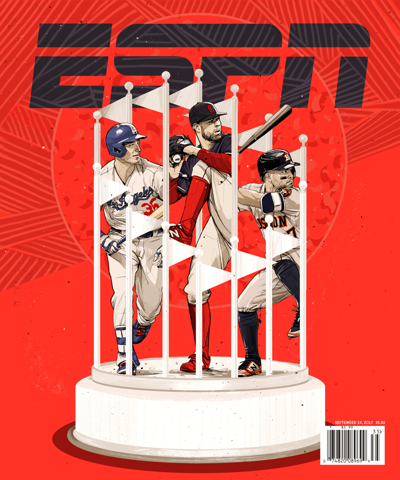 ESPN ILLUSTRATIONS - ESPN the Magazine / ESPN.comSelect editorial projects from my ongoing partnership with ESPN.Left: ESPN the Magazine Cover, September 2017.