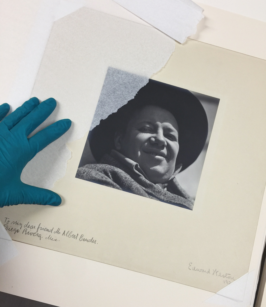 Photographing and creating a condition report for an Edward Weston portrait of Diego Rivera.