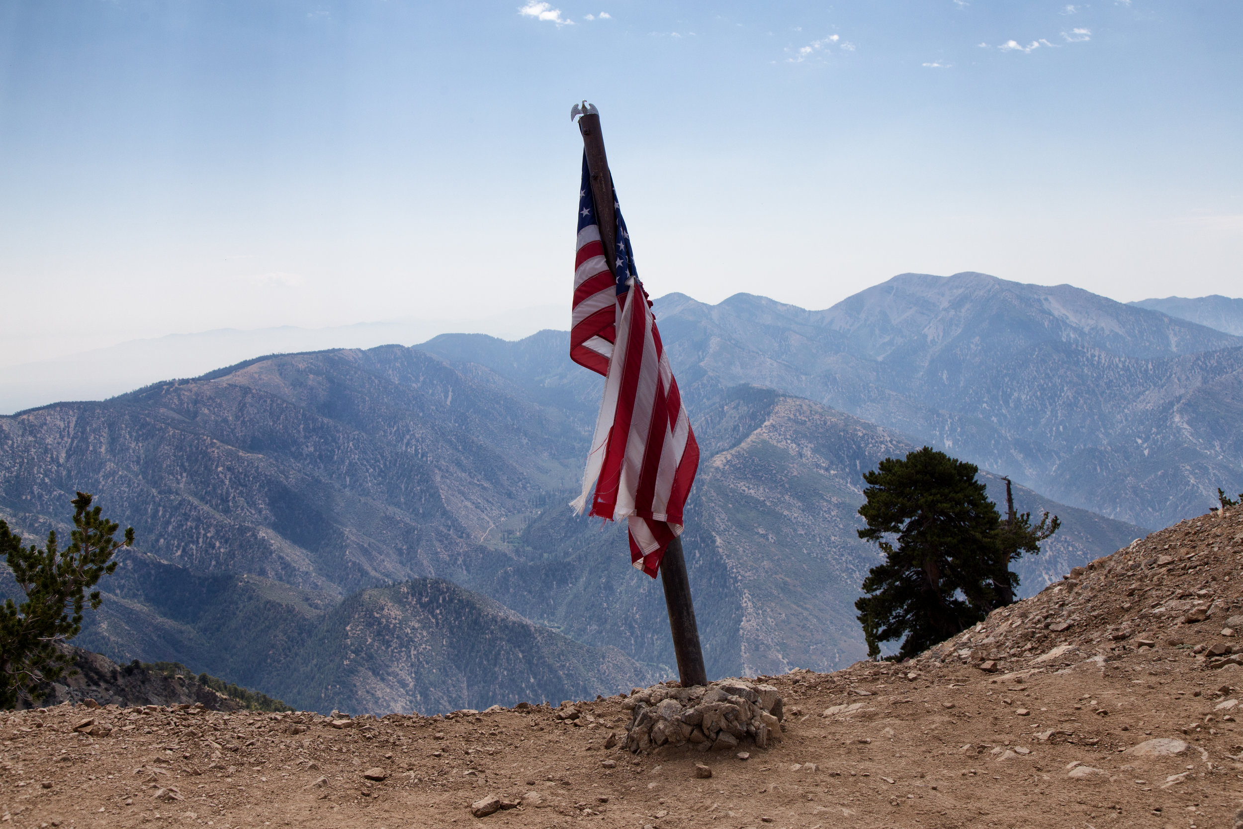 """Our American flag with """"Old Baldy"""" in the background."""