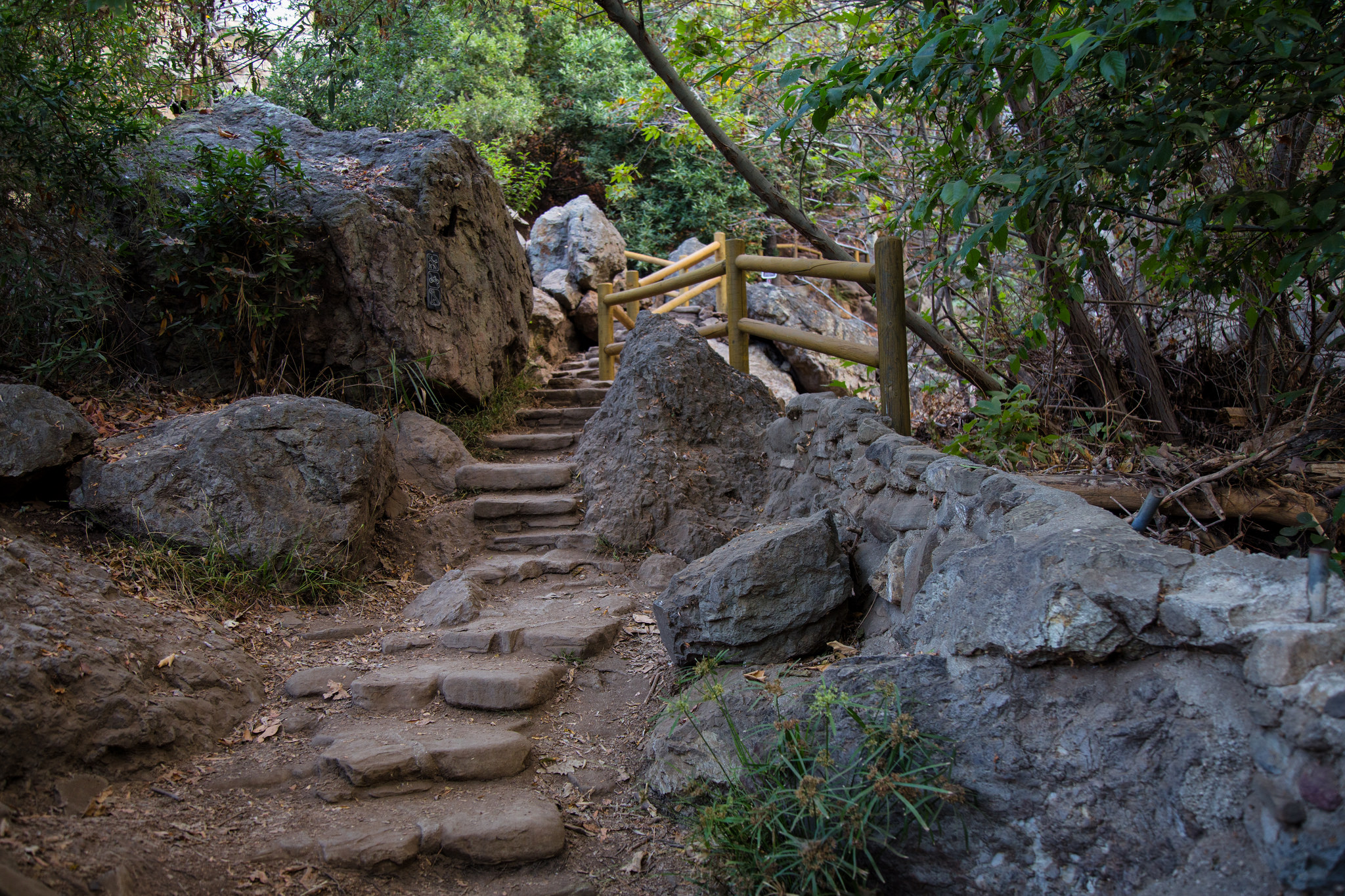 Stairs leading to Solstice Canyon Falls.