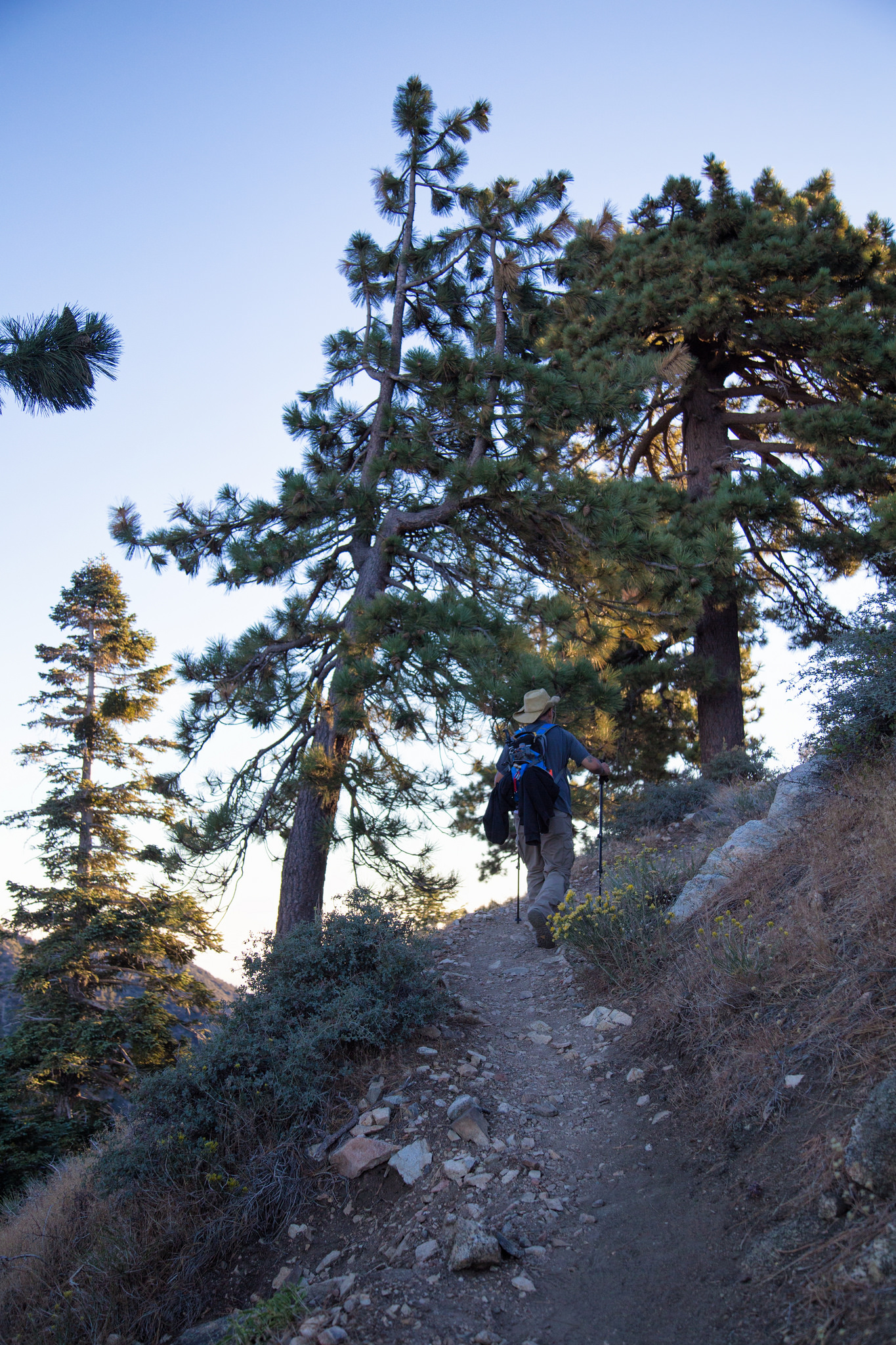 The trail starts up some steep switchbacks on an exposed climb..