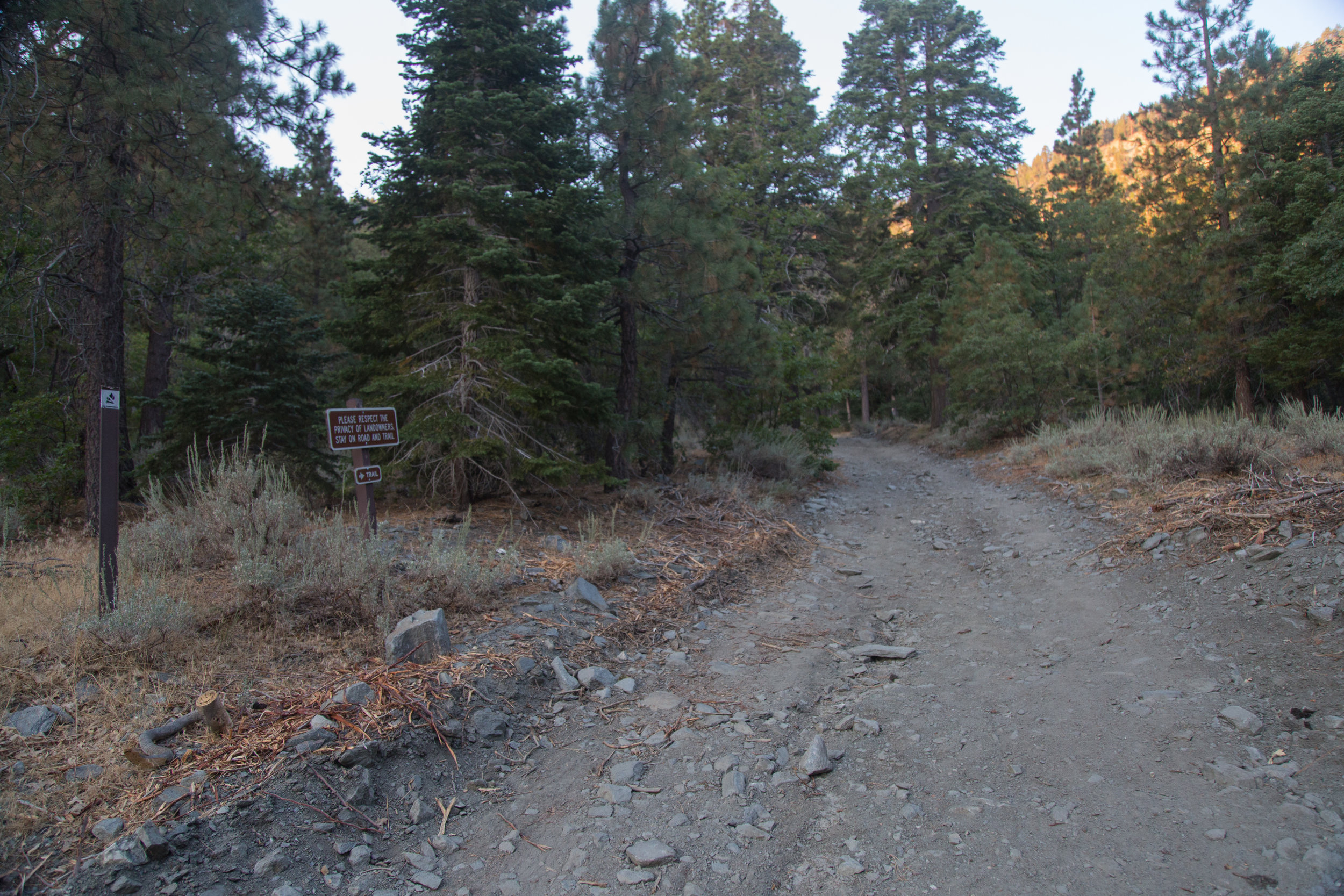 There's a marked sign here leading to the trailhead.  You'll also pass a water tower along the way.