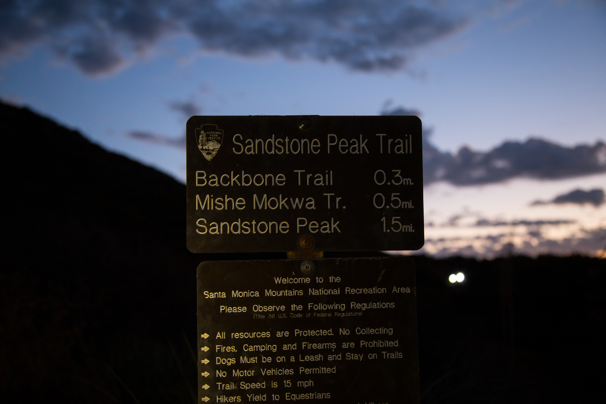 Sign at the trailhead leading to the journey.