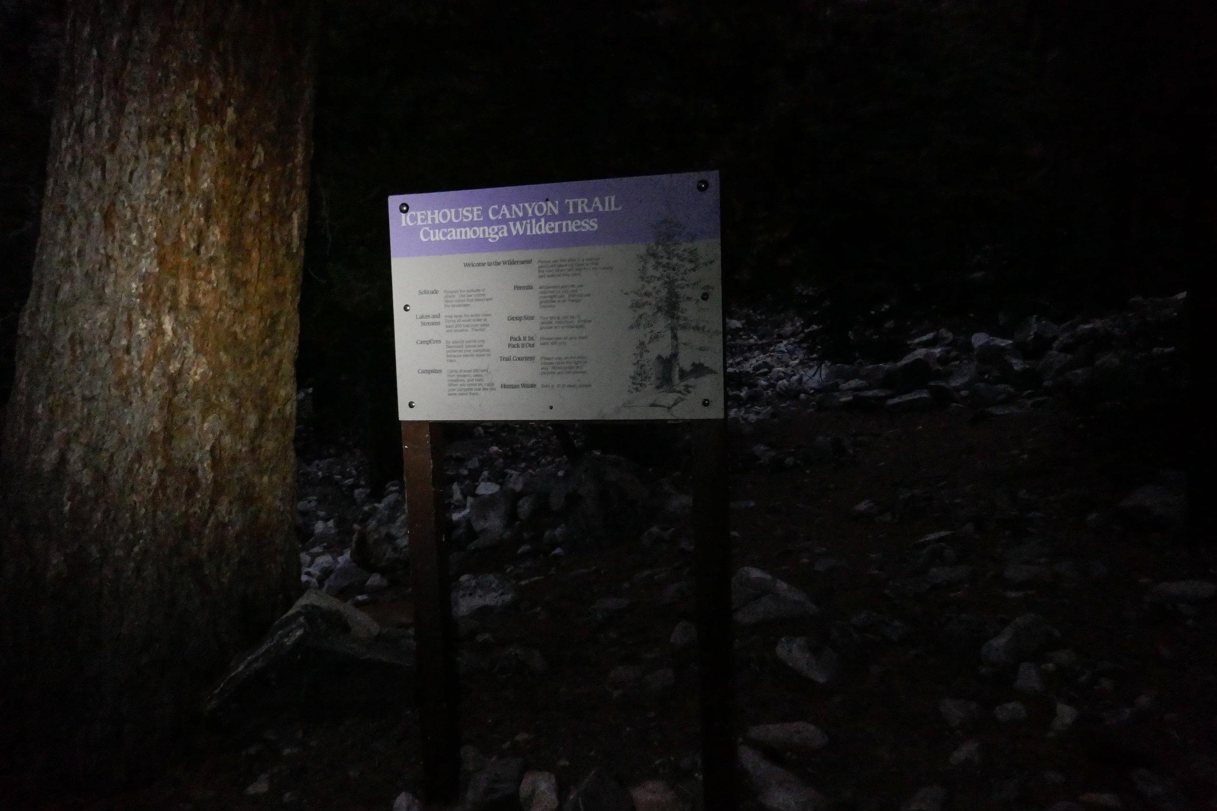 It was still dark when we reached Cucamonga Wilderness.