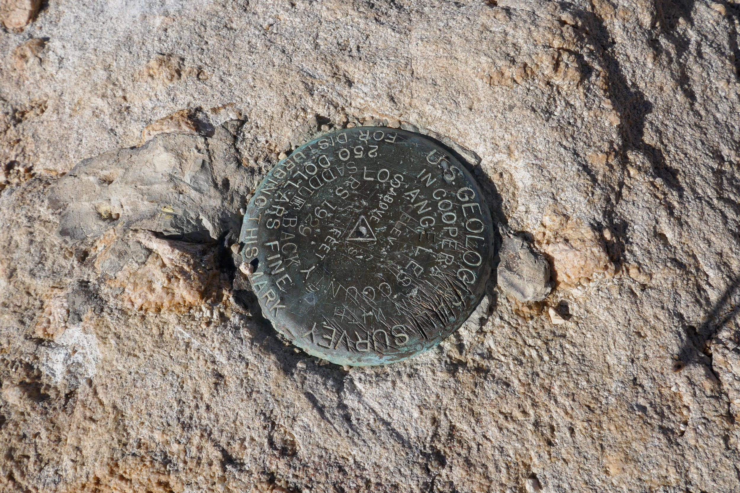 One of the two USGS markers at the peak.