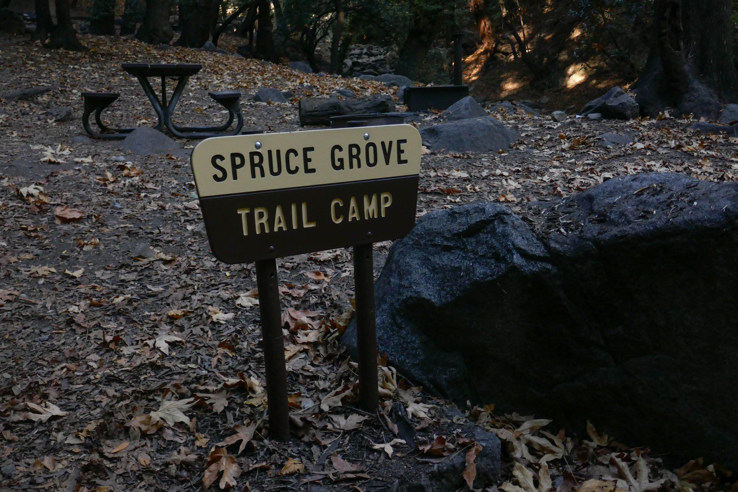 Spruce Grove camp. There are bathrooms here.