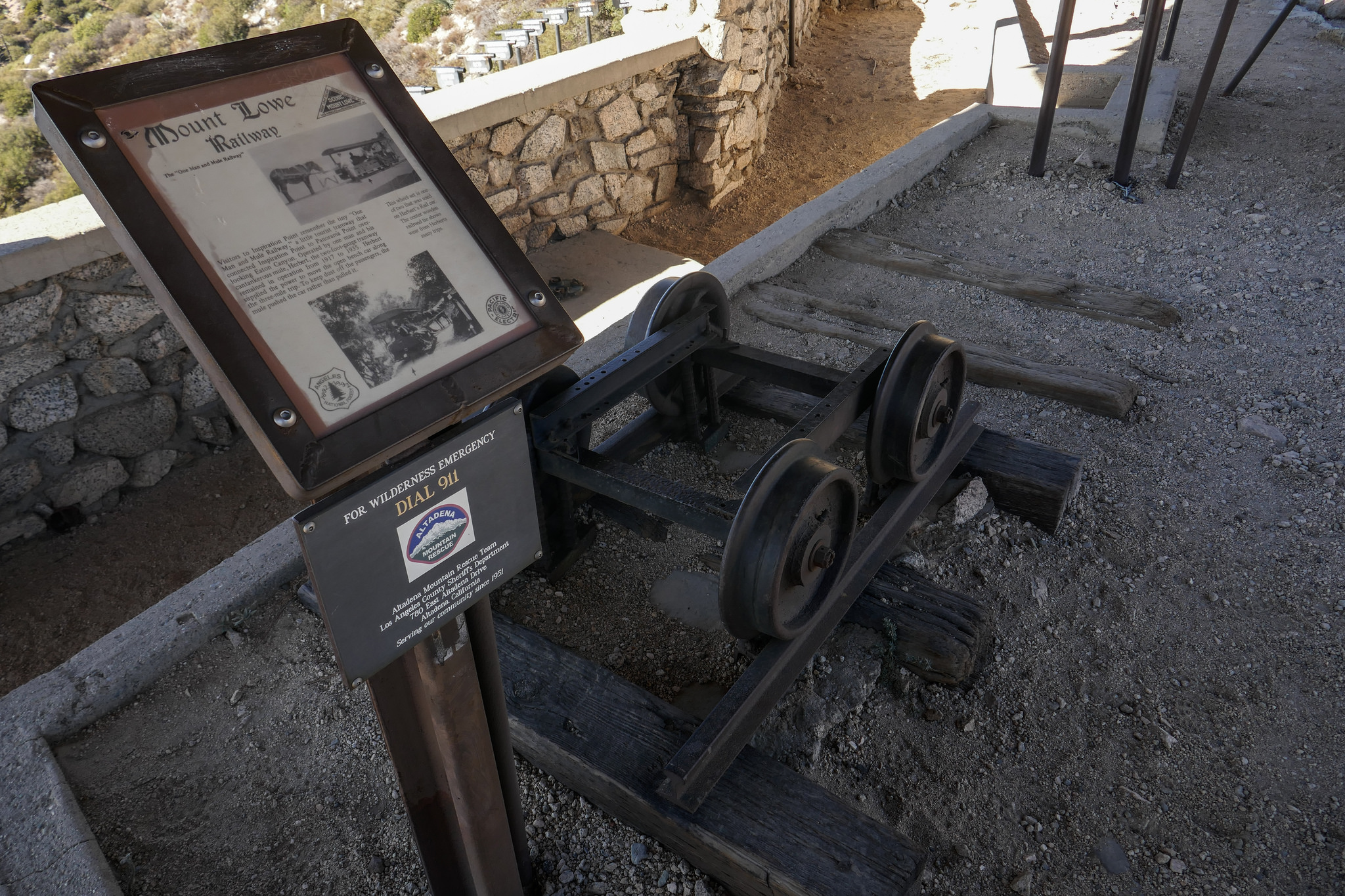 A mule named Herbert used to push people up to Inspiration Point from Ye Alpine Tavern to enjoy the views. There is a plaque here with his photo.