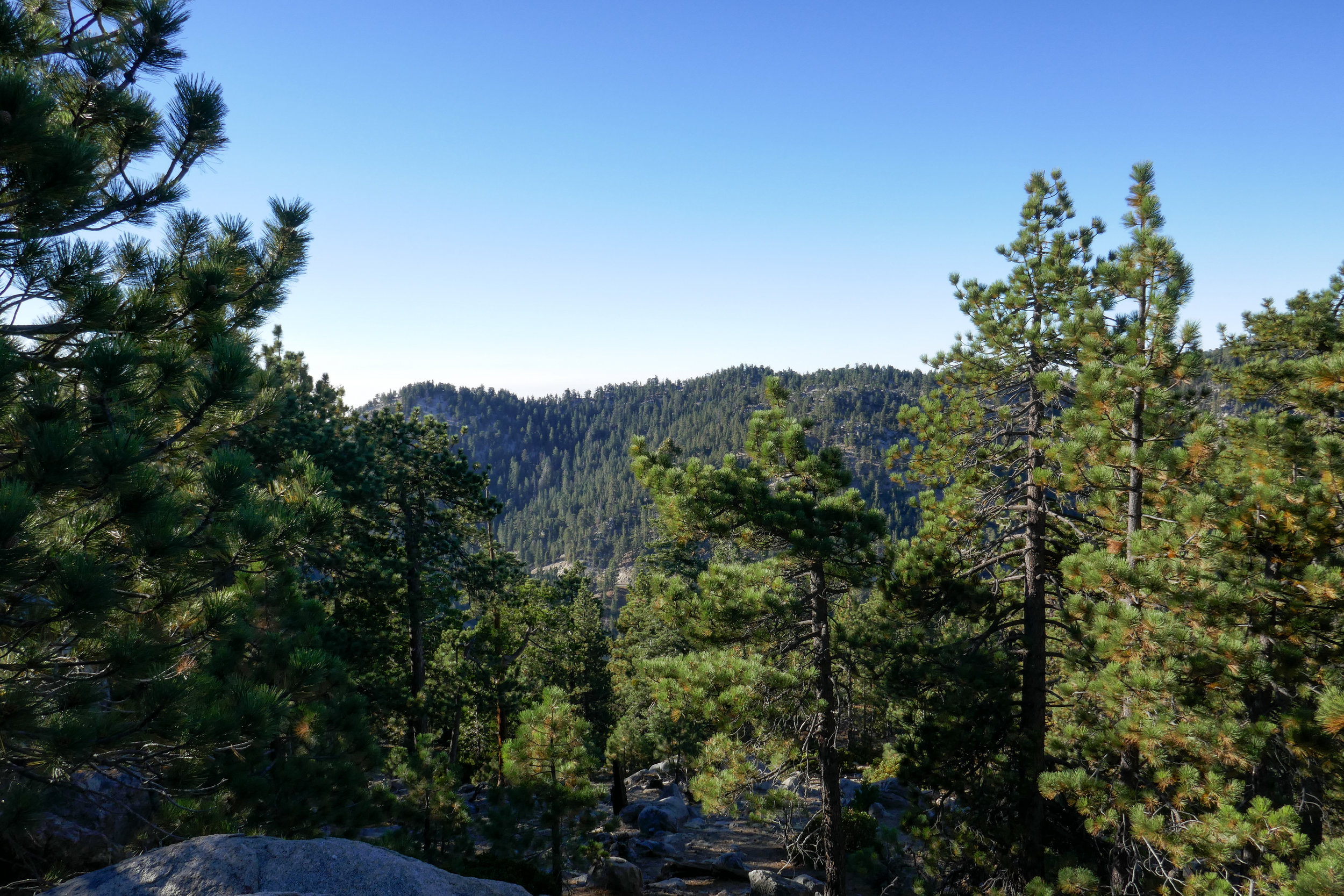 We enjoy our breakfast while looking over at Waterman Mountain and Twin Peaks.