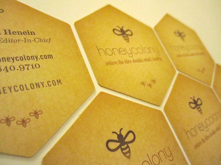 Die cut business cards. Strength of the hive concept represented by individuals forming the whole.