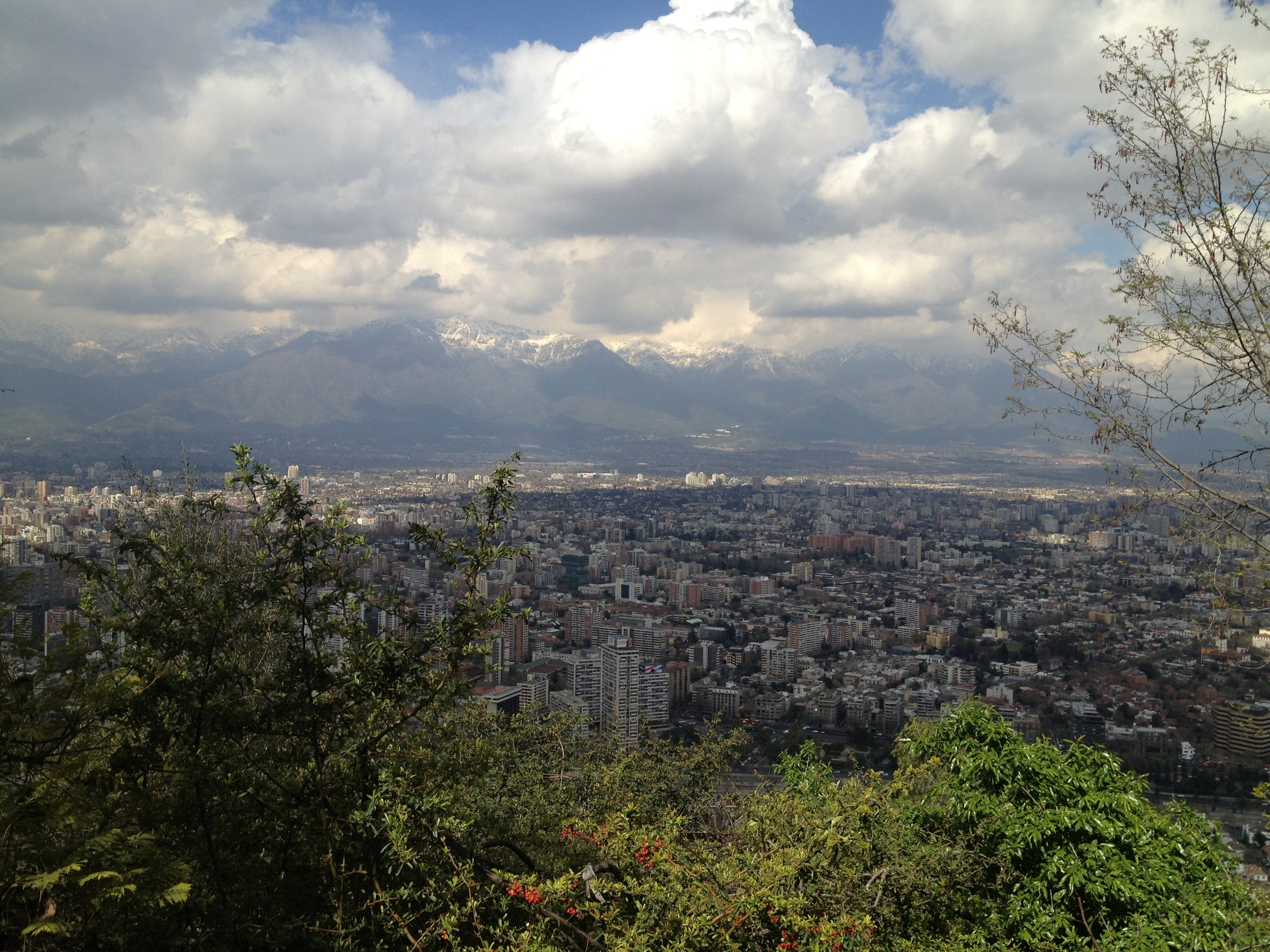 The Andes in the distance - the view from San Cristobal Hill.