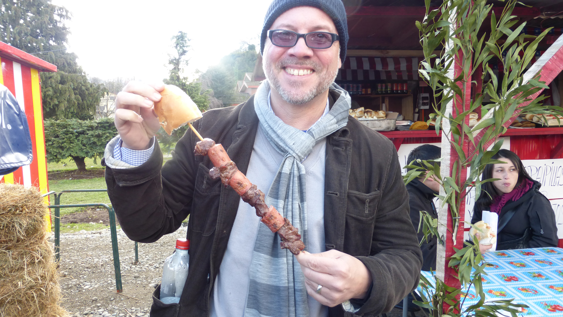 "Meat on a stick! Called ""Anticucho"" in Chile; which we know we shouldn't eat, but seriously...it was too tempting to resist."