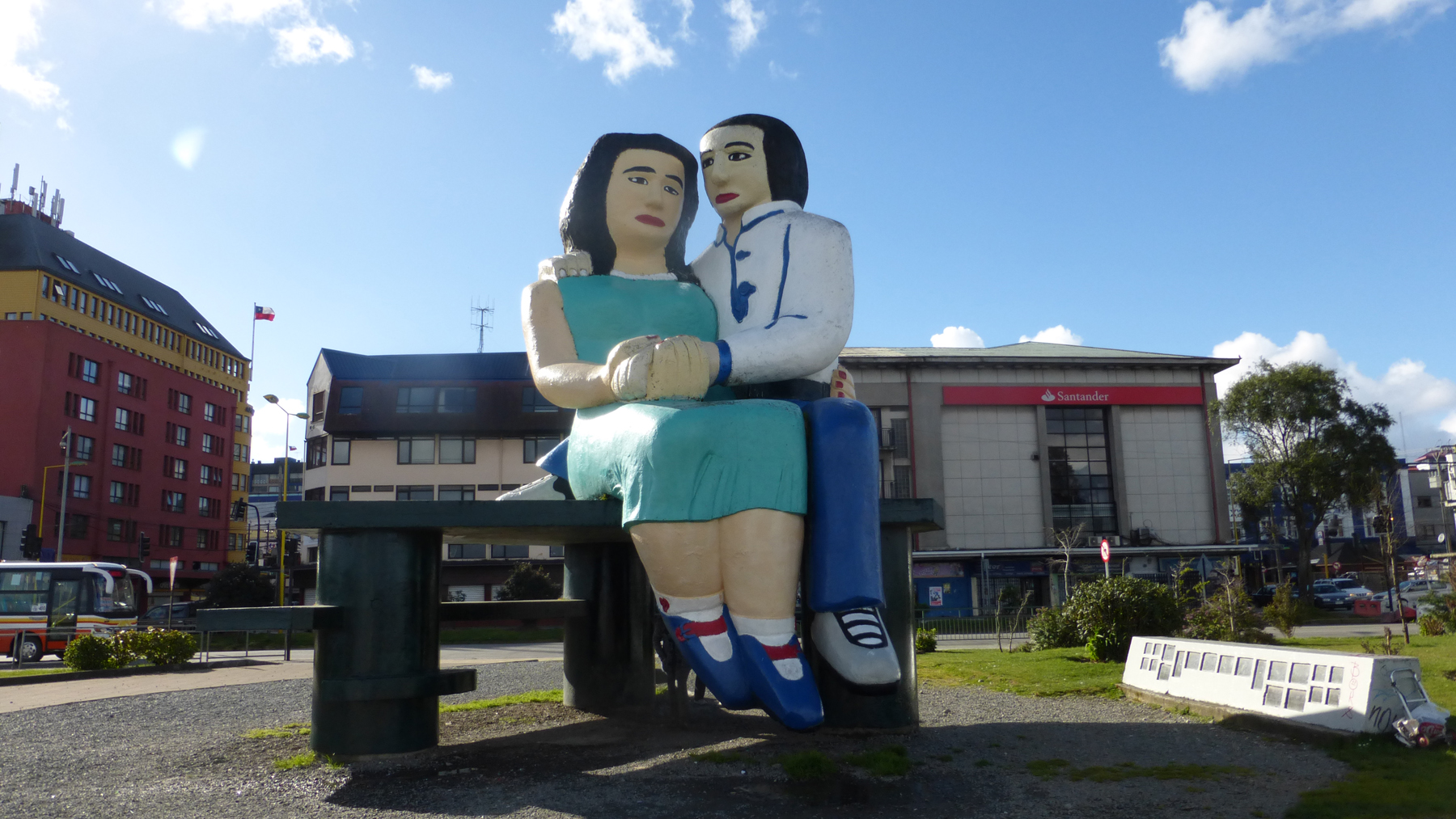 "We spent the rest of our time in Puerto Montt just walking around the town.  These two are the unofficial symbol of Puerto Montt.  ""The Lovers By the Sea."""