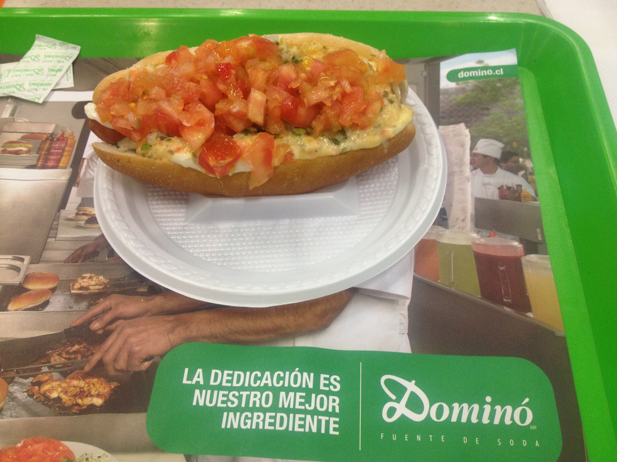 """Chileans love hot dogs. We actually went to the food court in a mall in Santiago for dinner one night to enjoy the famous """"Domino"""" brand. (Oh yes we did…we're on a budget!) And, by the way, YUM.                0    0    1    29    169    Kikio Creative Communications    1    1    197    14.0                          Normal    0                false    false    false       EN-US    JA    X-NONE                                                                                                                                                                                                                                                                                                                                                                                                                                                                                                                                                  /* Style Definitions */ table.MsoNormalTable {mso-style-name:""""Table Normal""""; mso-tstyle-rowband-size:0; mso-tstyle-colband-size:0; mso-style-noshow:yes; mso-style-priority:99; mso-style-parent:""""""""; mso-padding-alt:0in 5.4pt 0in 5.4pt; mso-para-margin:0in; mso-para-margin-bottom:.0001pt; mso-pagination:widow-orphan; font-size:12.0pt; font-family:Cambria; mso-ascii-font-family:Cambria; mso-ascii-theme-font:minor-latin; mso-hansi-font-family:Cambria; mso-hansi-theme-font:minor-latin;}"""
