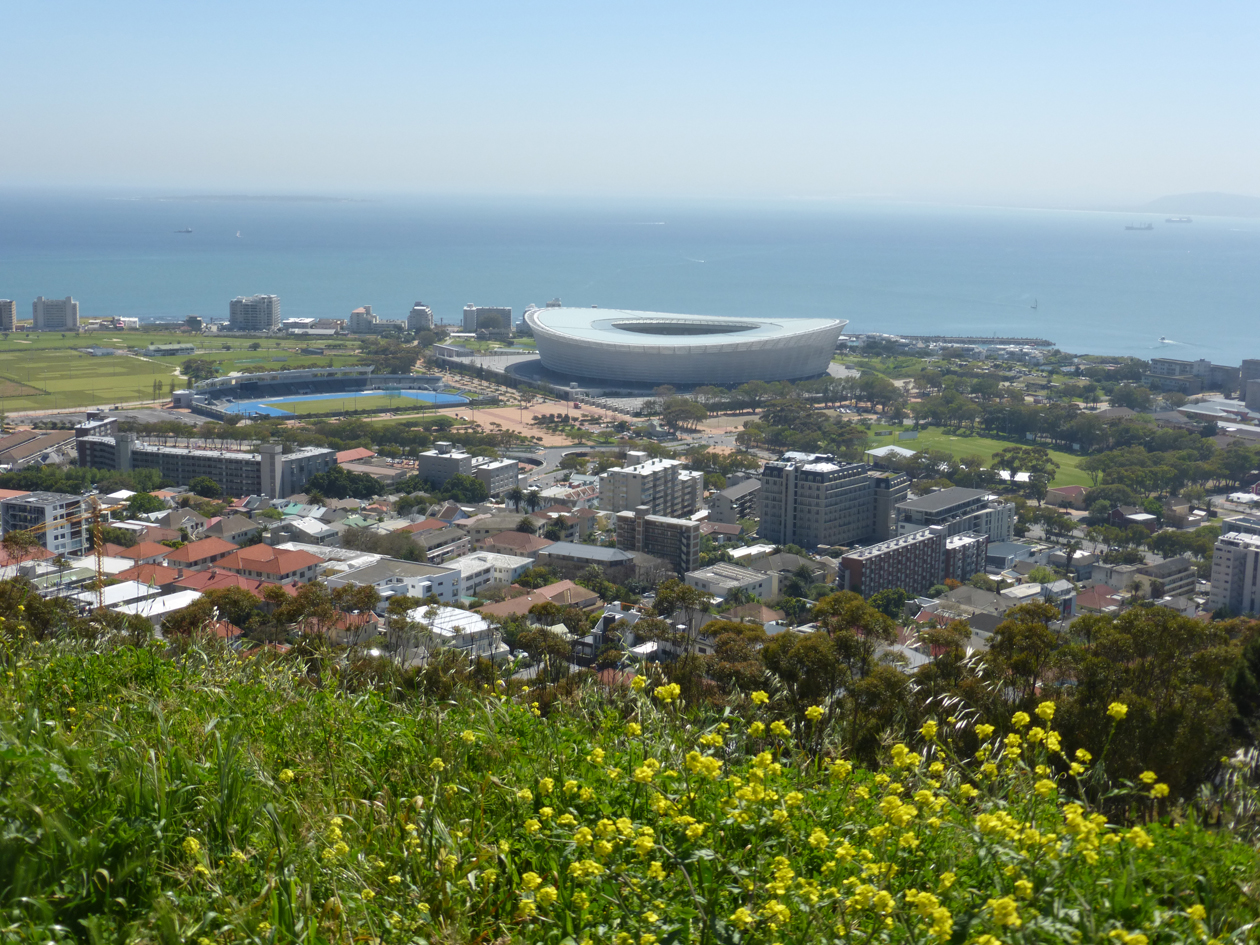 Today, Michael and Melissa saw highlights of Cape Town.  Many of you may recognize this stadium from the last World Cup.