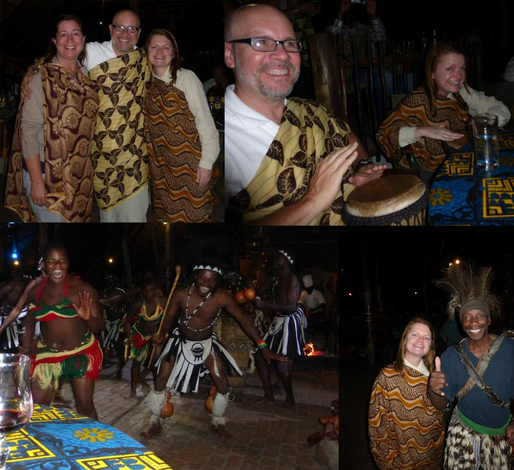 We celebrated being in Zimbabwe by going to The Bomba...an interactive dinner theatre experience.  We weren't quite sure what to expect, but in the end, we all had a lot of fun.  Melissa and Michael played the drums and Melissa and Annie had their fortunes told (sort of - they were basically the same - all is well).  The warthog was delicious (says Michael).  Melissa was grateful that there were other options.