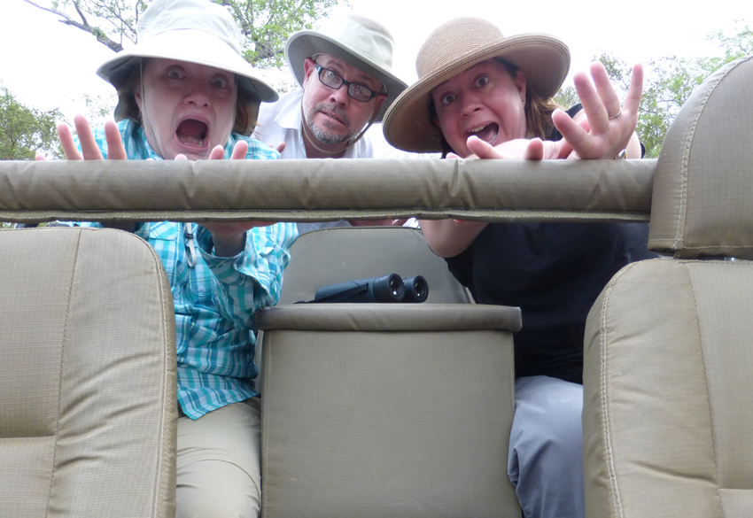 "Joe and Richard went to great lengths to track this leopard down for us.  At one point, they left us alone in the vehicle while they went on foot to flush the leopard out of the bush.  While we were waiting, we took this ""selfie"" (like you do when your guides walk away)...and, soon after (as if to mock us) we heard a very low growl that was WAY too close for comfort."